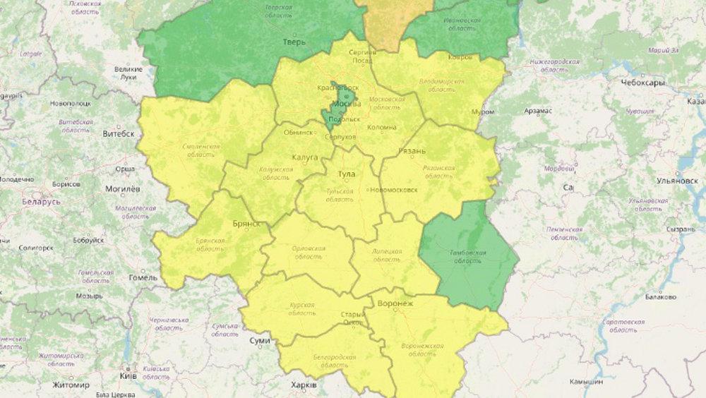 В Брянской области из-за ветра объявлен жёлтый уровень погодной опасности