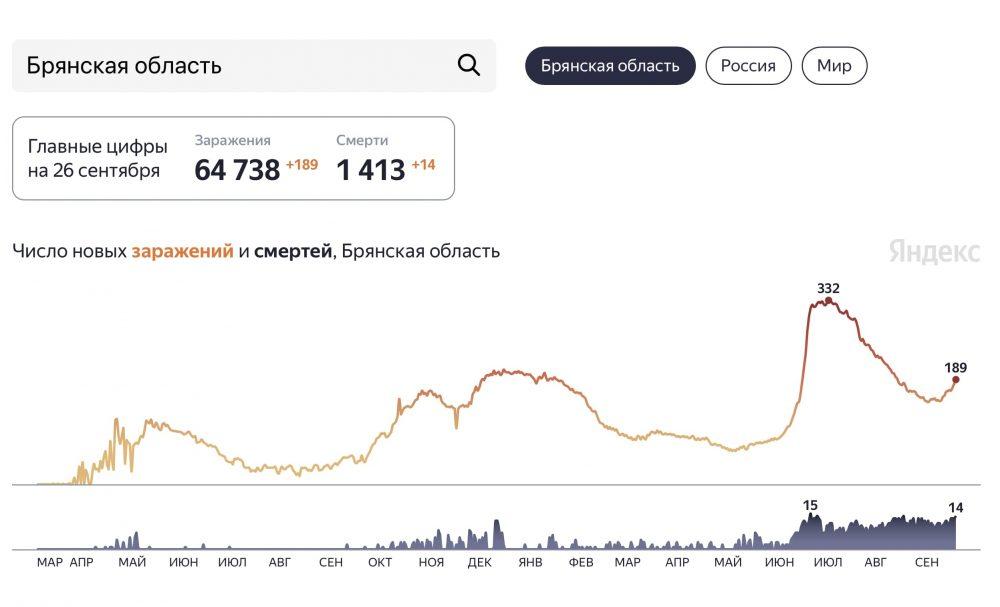 Смертность от коронавируса в Брянской области подошла к «красной черте»