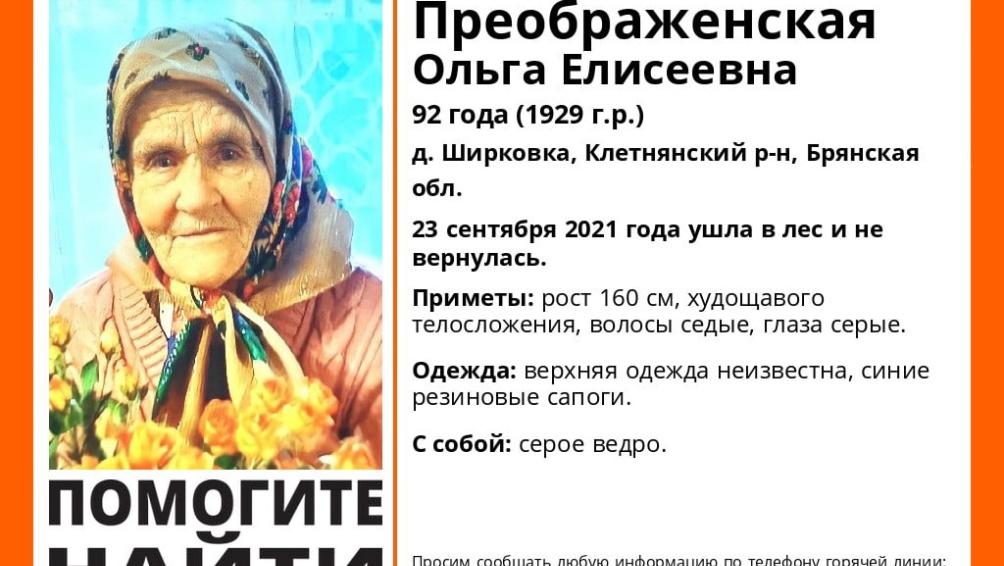 Под Клетнёй Брянской области в лесу пропала 92-летняя Ольга Преображенская