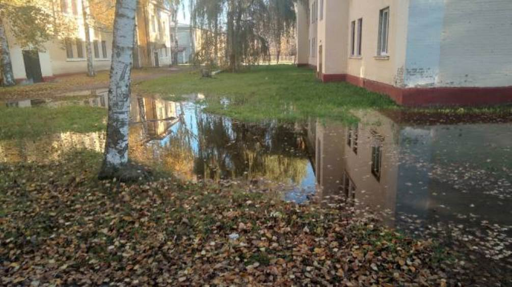 В Брянске затопило дорогу возле общежития педагогического колледжа