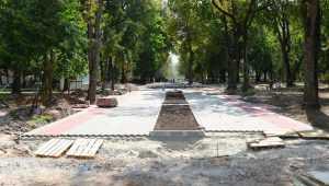 Глава Брянска Хлиманков и мэр Макаров оценили ремонт Круглого сквера